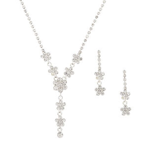 Silver Rhinestone Dainty Floral Jewellery Set - 2 Pack,