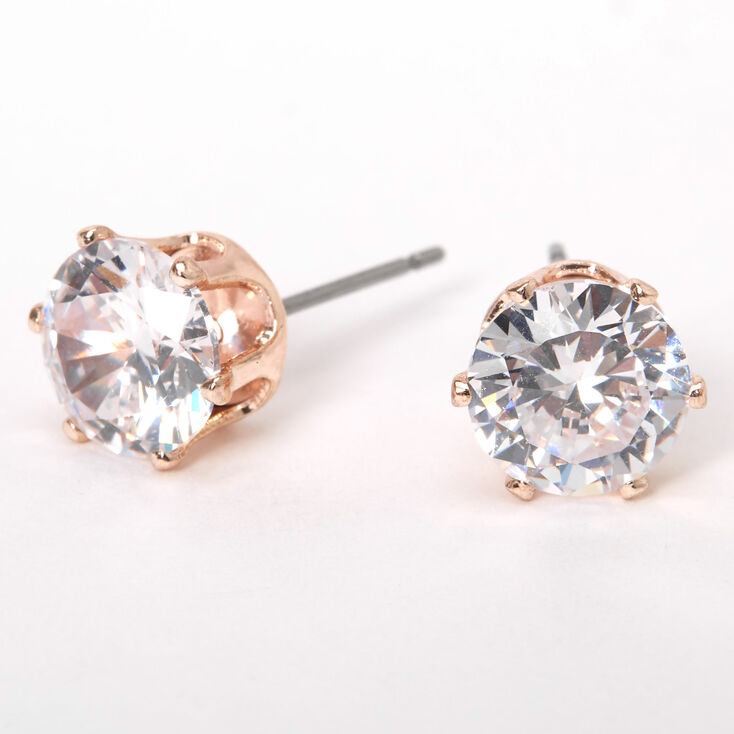 Rose Gold Cubic Zirconia Round Stud Earrings - 8MM,
