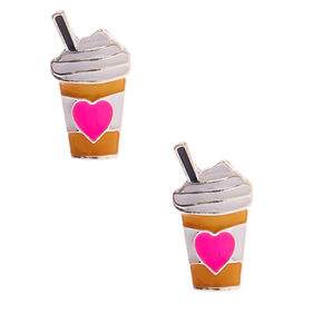 Silver Frappuccino Heart Stud Earrings,
