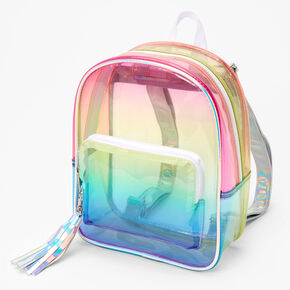 Ombre Rainbow Transparent Small Backpack - Clear,