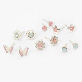 Silver Butterflies & Flowers Stud Earrings - Pink & Blue, 6 Pack,