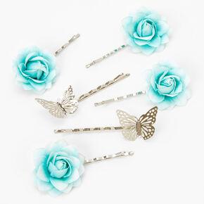 Épingles à cheveux à fleurs et papillons couleur argentée - Vert menthe, lot de 6,