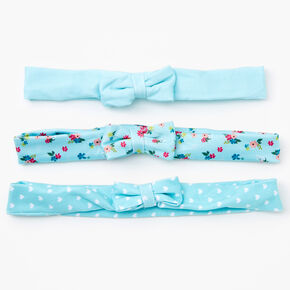 Claire's Club Spring Floral Bow Headwraps - Mint, 3 Pack,