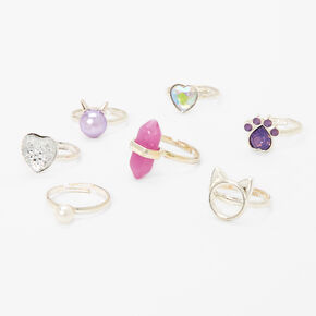 Claire's Club Rectangle Box Rings - Lilac, 7 Pack,