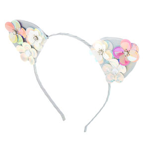 89111d2b69 Holographic Flower Cat Ears Headband