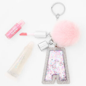 Initial Lip Gloss Keychain - Pink, A,