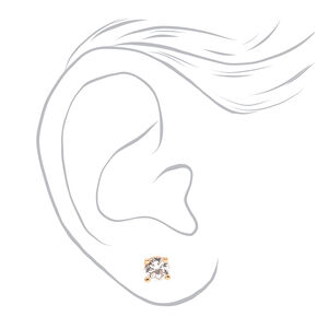 Mixed Metal 5MM Cubic Zirconia Round Stud Earrings - 3 Pack,