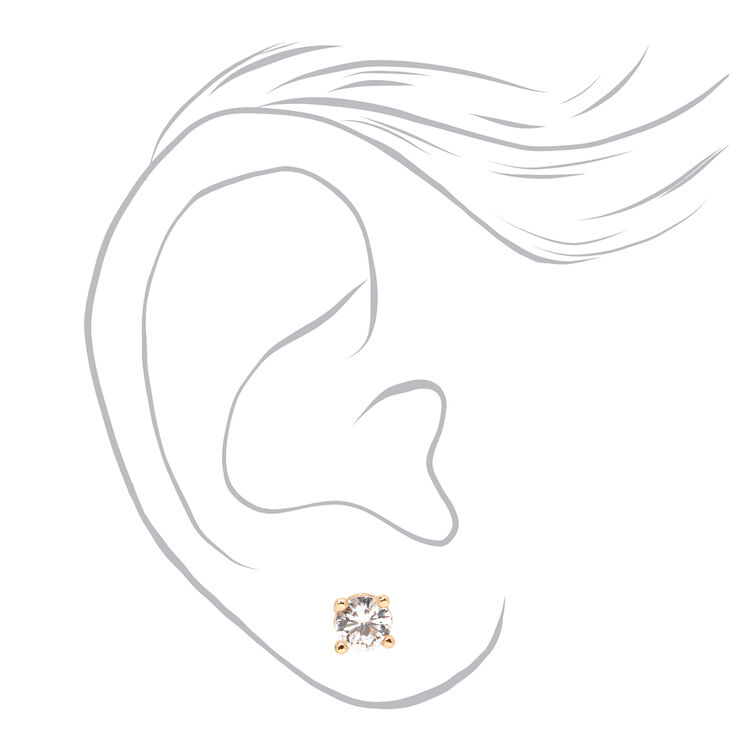 Mixed Metal 5MM Cubic Zirconia Round Stud Earrings - 3 Pack,