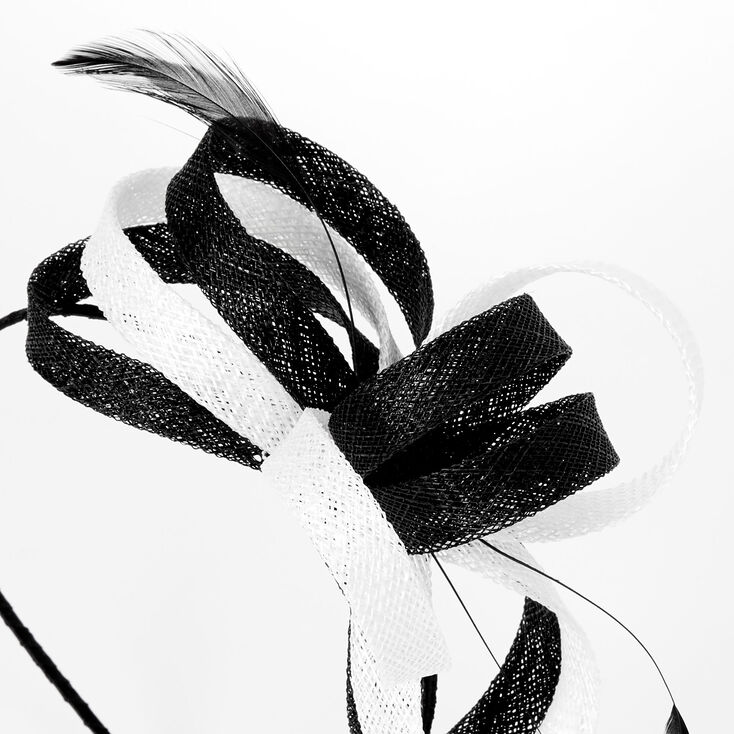 Black & White Sinamay Fascinator Headband,