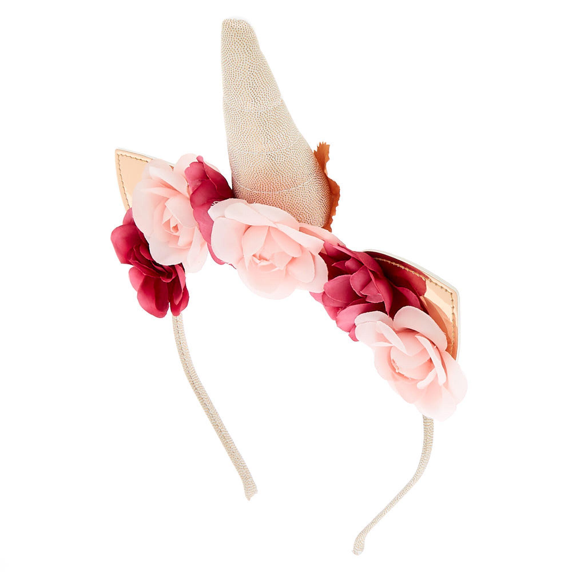 Rose gold unicorn flower crown headband claires rose gold unicorn flower crown headband izmirmasajfo