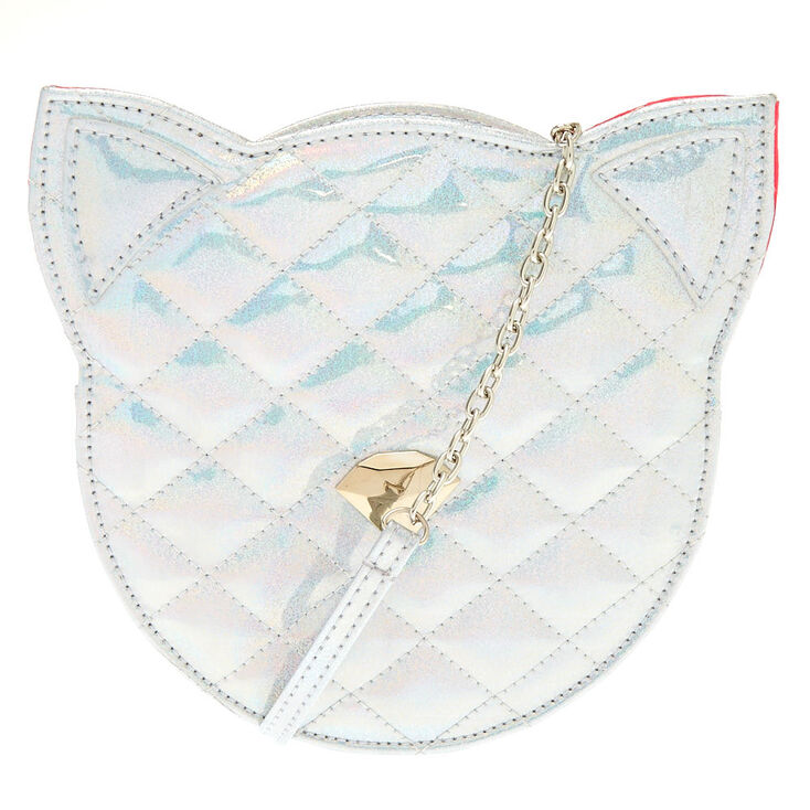 Holographic Silver Cat Crossbody Bag  6758d9bc36