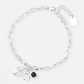 Silver Initial Beaded Heart Charm Chain Bracelet - Black, S,