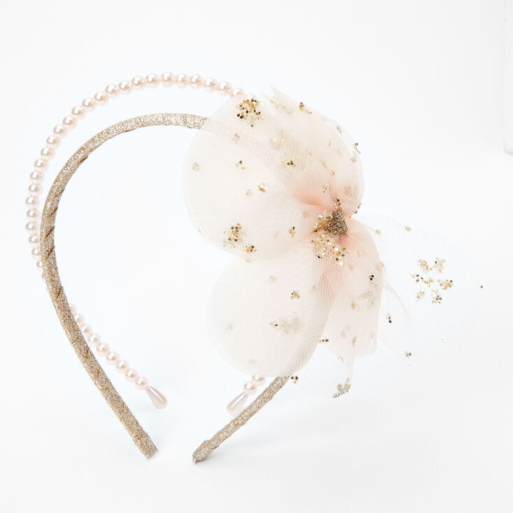 Claire's Club Pearl & Tulle Headbands - Gold, 2 Pack,
