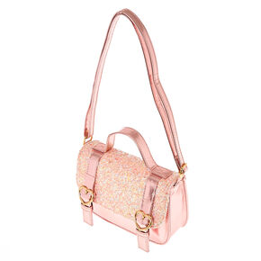Claire's Club Glitter Heart Crossbody Bag - Pink,