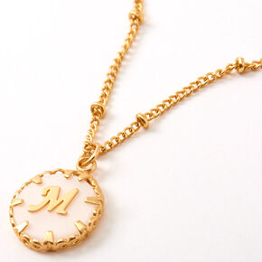 Gold Shell Initial Pendant Necklace - M,