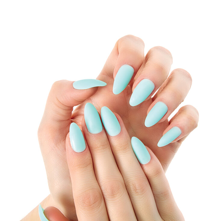 Matte Stiletto Faux Nail Set - Mint, 24 Pack | Claire's US