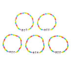 Rainbow Bead Stretch Friendship Bracelets - 5 Pack,