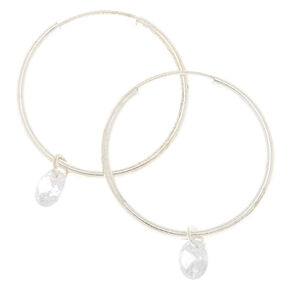 Silver Cubic Zirconia 25MM Gem Hoop Earrings,