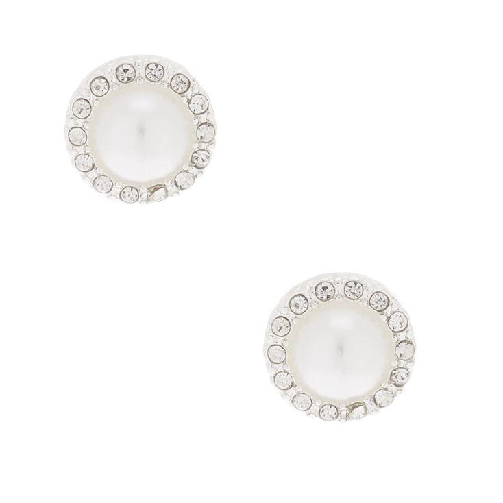 Pearl & Crystal Stud Earrings,