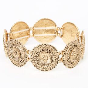 Bracelet élastique médaillon filigrane couleur dorée,