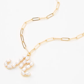 Gold Oval Pearl Initial Pendant Necklace - M,