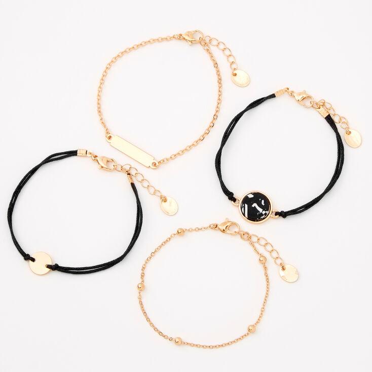 Bracelets chaînes à disques effet marbré couleur dorée - Noir, lot de 4,