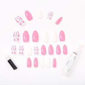 Neon Geometric Glitz Stiletto Faux Nail Set - Pink, 24 Pack,
