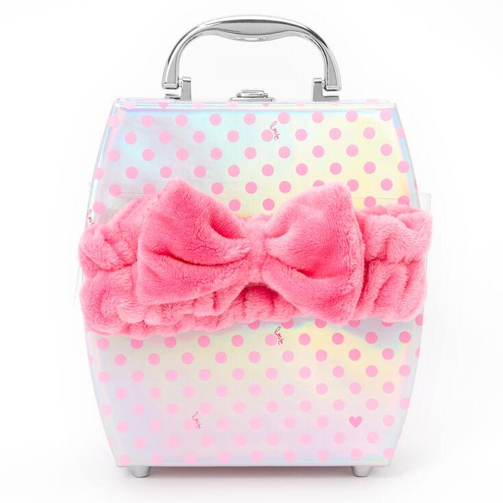 Holographic Polka Dot Travel Case Makeup Set - Pink,