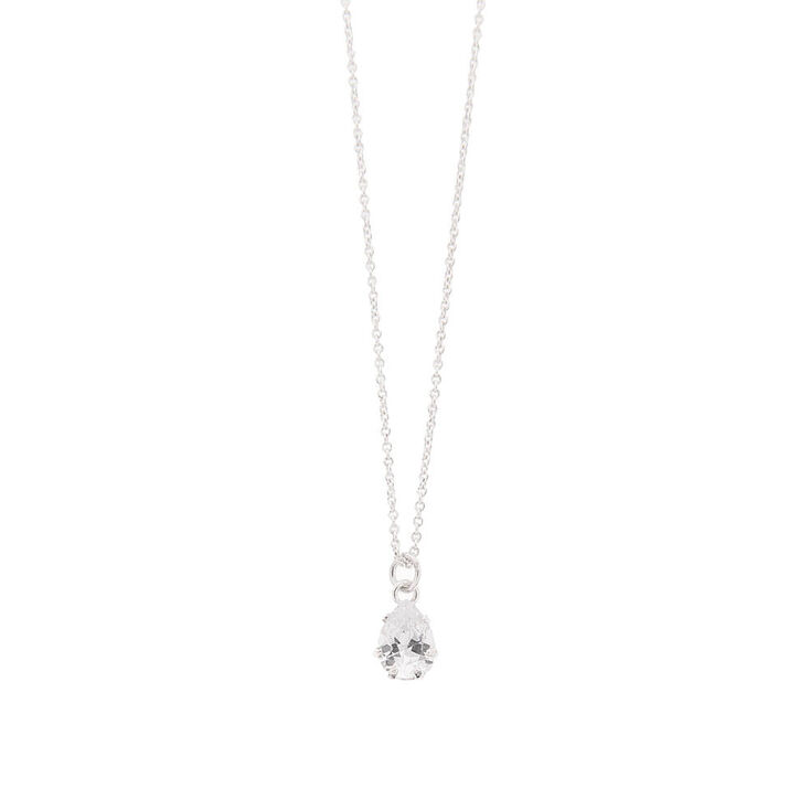Cubic Zirconia Pear Necklace,