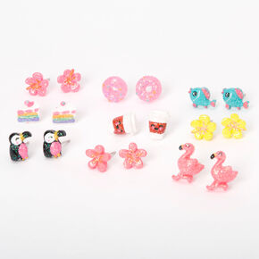 Glitter Tropical Animals & Treats Stud Earrings - 9 Pack,