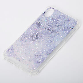 Purple Marble Sparkle Protective Phone Case - Fits iPhone XR,