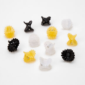Black, White & Yellow Daisy Mini Hair Claws - 12 Pack,