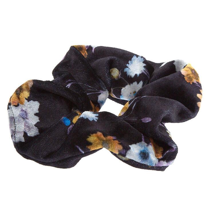 Medium Floral Velvet Hair Scrunchie - Black,