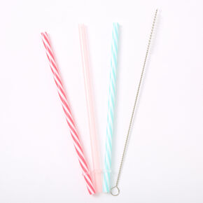 Striped Reusable Plastic Straws - 3 Pack,