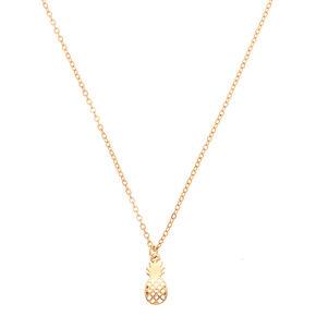 Gold Filigree Pineapple Pendant Necklace,