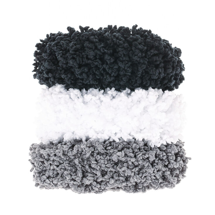 Small Neutral Fuzzy Hair Scrunchies - 3 Pack,