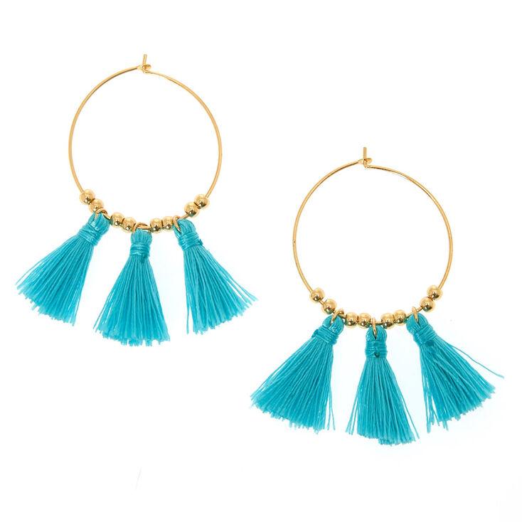 Gold 30MM Tassel Hoop Earrings - Turquoise,