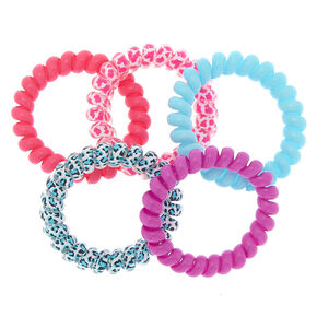 Bright Leopard Spiral Hair Ties - 5 Pack,