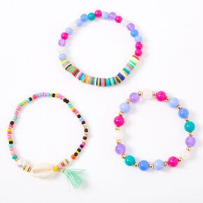 Bracelets élastiques perlés avec coquillages cauris arc-en-ciel - Lot de 3,