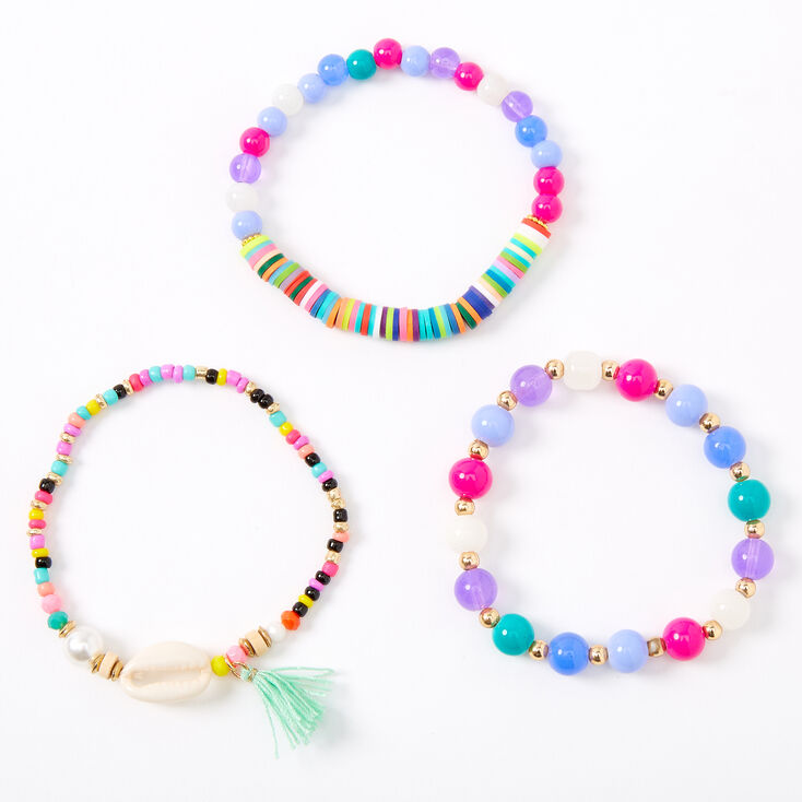 Rainbow Beaded Cowrie Shell Stretch Bracelets - 3 Pack,