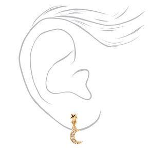 Gold Dangly Celestial Stud Earrings - 3 Pack,
