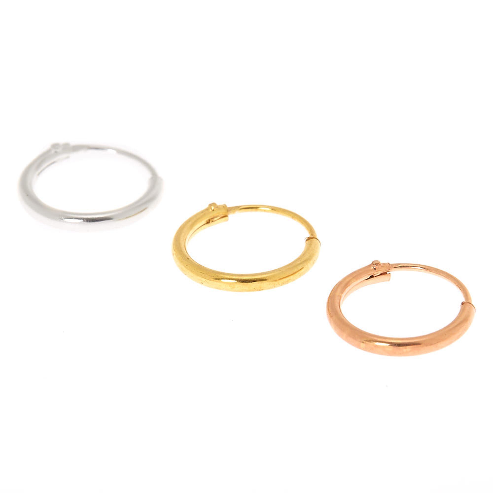 Mixed Metal Sterling Silver 22G Cartilage Hoop Earrings ...