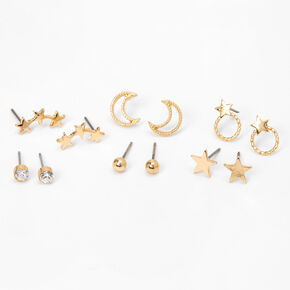 Gold Mixed Celestial Stud Earrings - 6 Pack,