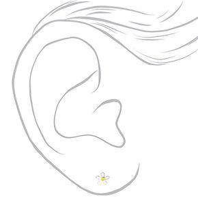 Sterling Silver Daisy Stud Earrings - White,