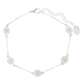 Silver Dainty Daisy Chain Anklet,