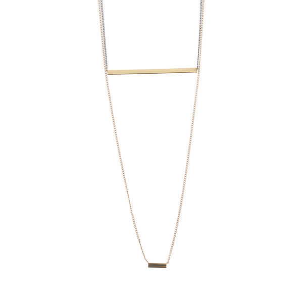 Claire's - silver and double bar necklace - 1