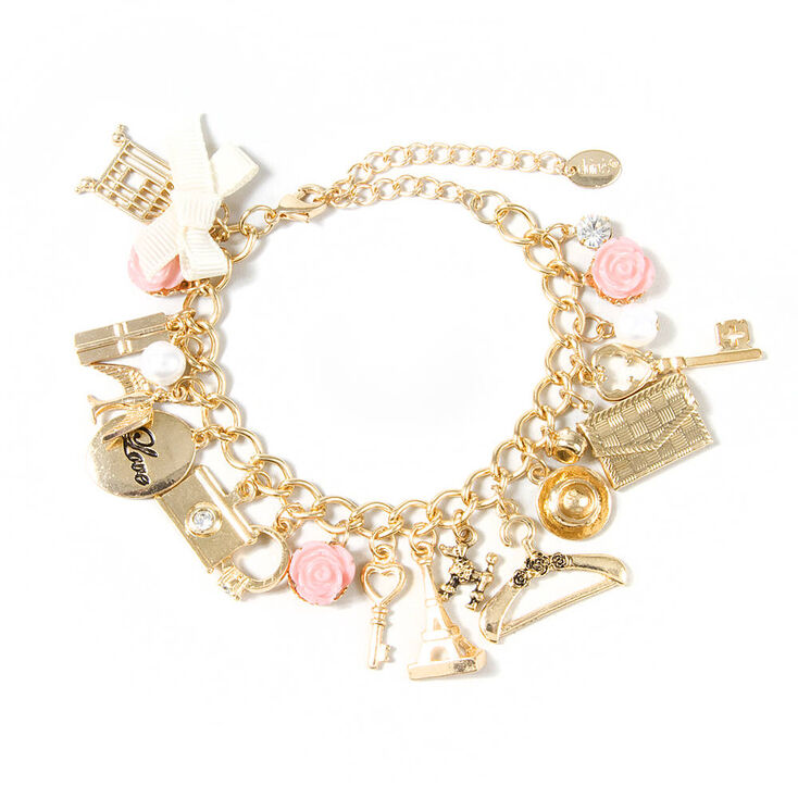 Paris Inspired Gold Charm Bracelet  0962fea130ac