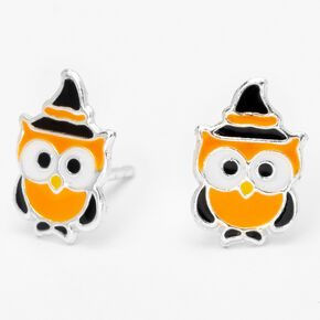 Sterling Silver Owl Stud Earrings - Orange,