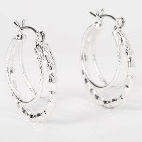 Silver 20MM Beaded Triple Hoop Earrings,