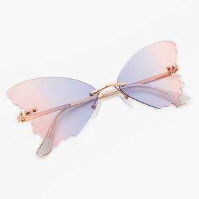Lunettes de soleil papillon dégradé violet et rose couleur dorée,